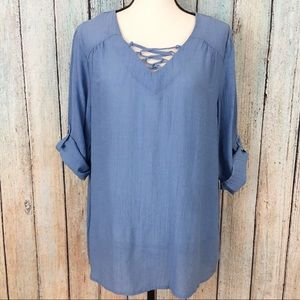 Christopher & Banks Blue Blouse